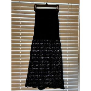 Black Maxi Skirt With Lace Bottom Half